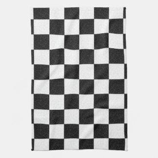シンプルな織り目加工のチェッカーボード キッチンタオル