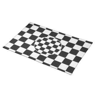 シンプルな織り目加工のチェッカーボード ランチョンマット