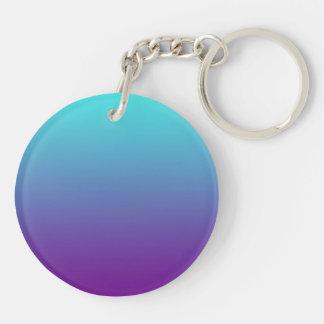 シンプルな背景の勾配の青緑の紫色 キーホルダー