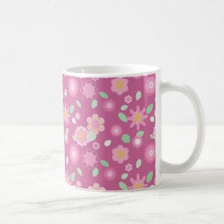 シンプルな花柄春 コーヒーマグカップ