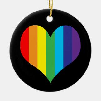 シンプルな虹のハート セラミックオーナメント