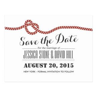 シンプルな赤いロープの結び目の結婚式の保存日付 ポストカード