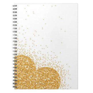 シンプルな輝きの金ゴールドのハートのノート ノートブック