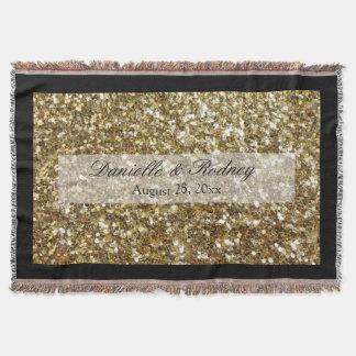 シンプルな金ゴールドのグリッターによって印刷される結婚式 スローブランケット