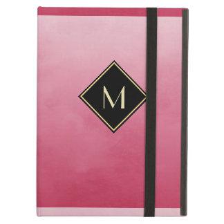 シンプルな金ゴールドのモノグラムとのエレガントなブラシをかけられたピンク iPad AIRケース