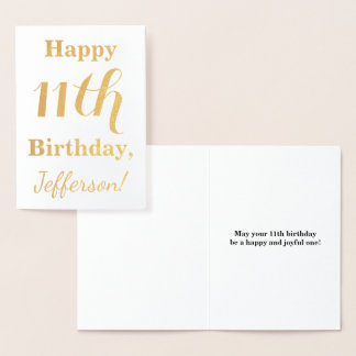 シンプルな金ゴールドホイルの第11誕生日 + 名前をカスタムする 箔カード