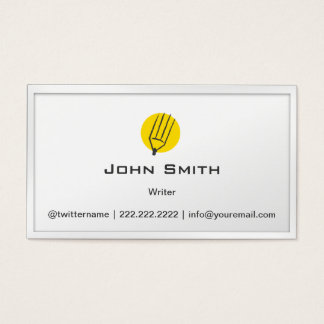 シンプルな鉛筆の黄色の点の作家の名刺 名刺