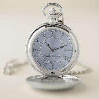 シンプルな銀製の名前入りな壊中時計 ポケットウォッチ