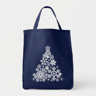 シンプルな雪片のクリスマスツリーの買い物袋 トートバッグ