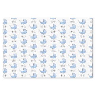 シンプルな青色児のベビーカーパターン 薄葉紙