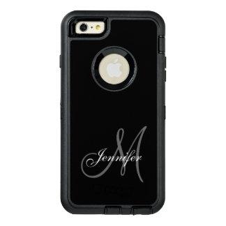 シンプルな黒い、あなたのモノグラム灰色、あなたの名前 オッターボックスディフェンダーiPhoneケース