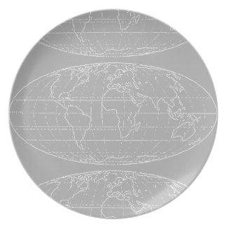 シンプルなplanisphere/worldmaps プレート
