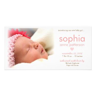 シンプルの女の赤ちゃんの写真の誕生の発表 カード