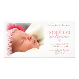 シンプルの女の赤ちゃんの写真の誕生の発表 写真カードテンプレート