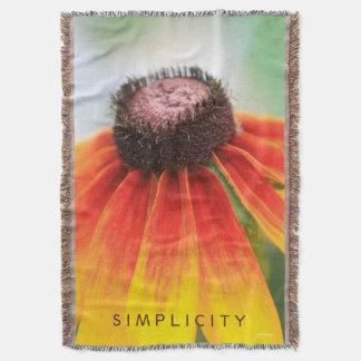 シンプルの野生の花のオレンジ黄色のカスタム スローブランケット