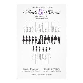 シンプルは結婚式プログラムのフライヤのシルエットを描きます チラシ
