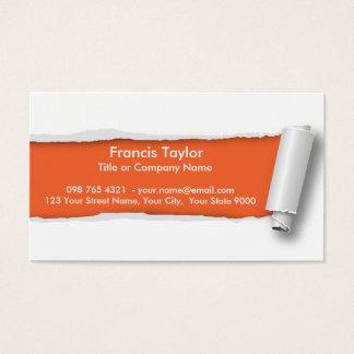 シンプルは、元のオレンジペーパーデザインを…裂きました 名刺