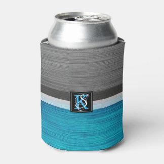シンプル2の調子の青および灰色のイニシャルのモノグラム 缶クーラー