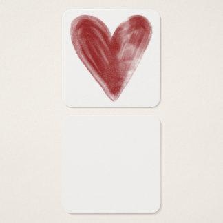 シンプル、赤、個人的なノートの水彩画のハート スクエア名刺