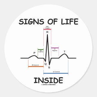 シンボルや象徴 生命 中 (ECG/EKG 心拍) 丸形シールステッカー