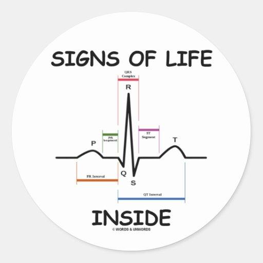 シンボルや象徴|生命|中|(ECG/EKG|心拍) 丸形シールステッカー