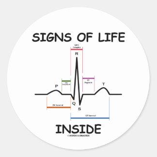 シンボルや象徴|生命|中|(ECG/EKG|心拍) 丸形シール・ステッカー