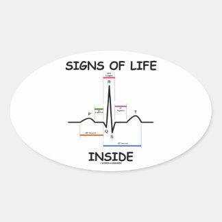 シンボルや象徴|生命|中|(ECG/EKG|心電図) 卵形シールステッカー