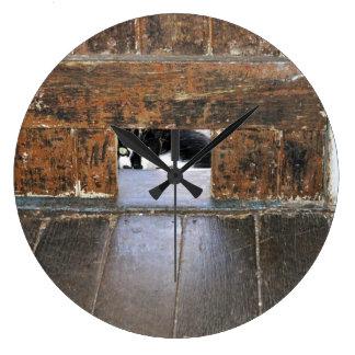シンリンオオカミ-円形の(大きい)柱時計 ラージ壁時計