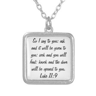 シークのノックの聖書の詩のルークの11:9のネックレスを頼んで下さい シルバープレートネックレス