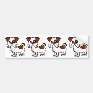 シーズー(犬)のTzuのかわいい漫画ブラウンおよび白 バンパーステッカー