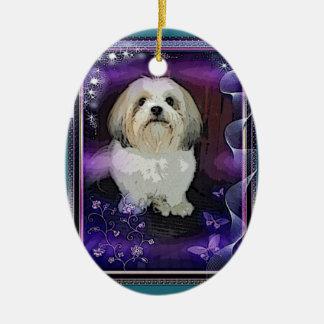 シーズー(犬)のTzuのクリスマスのオーナメント セラミックオーナメント