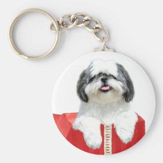 シーズー(犬)のTzuのクリスマスのギフト ベーシック丸型缶キーホルダー