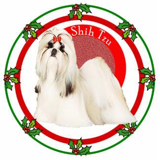 シーズー(犬)のTzuのクリスマスの写真Pin 写真彫刻バッジ