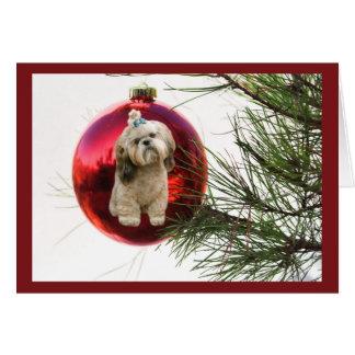 シーズー(犬)のTzuのクリスマスカードのオーナメント カード