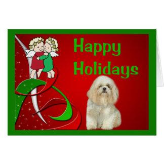 シーズー(犬)のTzuのクリスマスカードの小さい天使 カード