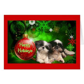 シーズー(犬)のTzuのクリスマスカードの幸せな休日の球 カード