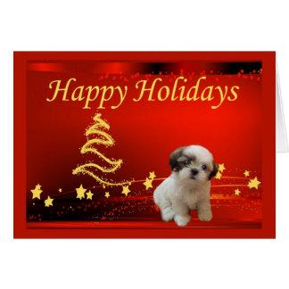 シーズー(犬)のTzuのクリスマスカードの星 カード