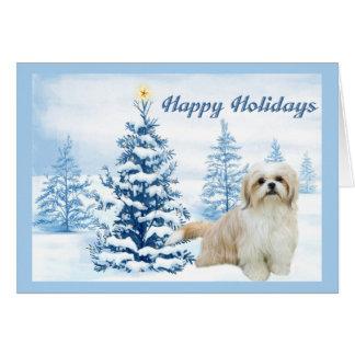 シーズー(犬)のTzuのクリスマスカードの青の木 カード