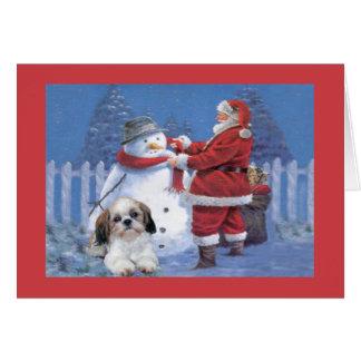 シーズー(犬)のTzuのクリスマスカードサンタおよび雪だるま カード