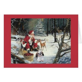 シーズー(犬)のTzuのクリスマスカードサンタWoods1 カード