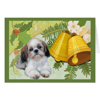 シーズー(犬)のTzuのクリスマスカード鐘 カード