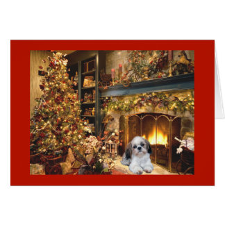 シーズー(犬)のTzuのクリスマスカードFireplace1 カード