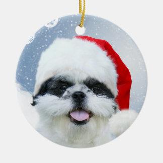 シーズー(犬)のTzuのクリスマス セラミックオーナメント