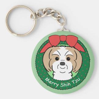 シーズー(犬)のTzuのクリスマス ベーシック丸型缶キーホルダー