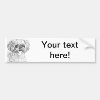 シーズー(犬)のTzuのスケッチ バンパーステッカー