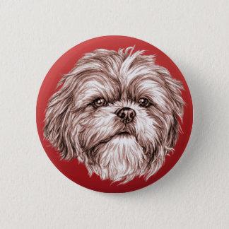 シーズー(犬)のTzuのスケッチ 5.7cm 丸型バッジ