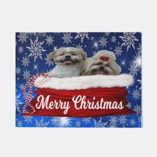 シーズー(犬)のtzuのドア・マット、クリスマス ドアマット