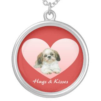 シーズー(犬)のTzuのハートのネックレス シルバープレートネックレス