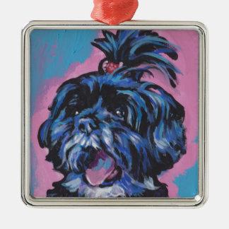 シーズー(犬)のTzuのポップアート メタルオーナメント