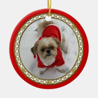 シーズー(犬)のtzuのラサかわいいサンタ犬のクリスマスのオーナメント セラミックオーナメント